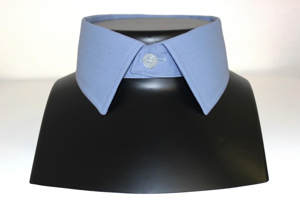 chemise col italien, clotilde ranno, chemises sur mesure, paris, boutique, col bleu