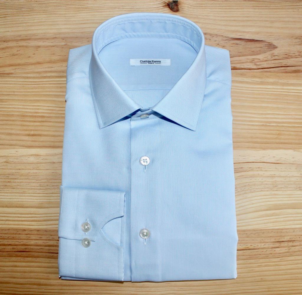chemise bleu ciel sur mesure , chemise bleu ciel