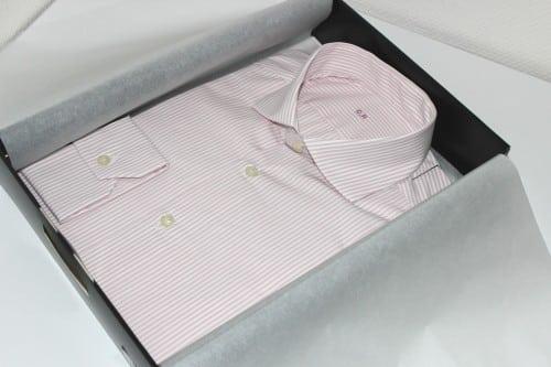 chemise sur mesure slim fit, chemise sur mesure rayée blanche et rose, en coton