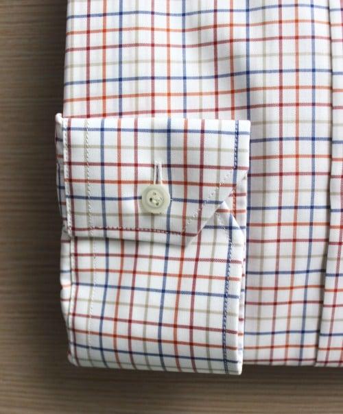 chemise sur mesures, chemise homme, chemise sur mesure, chemise luxe, chemise à carreaux, col italien ouvert rigide, Thomas Mason, poignets mixtes