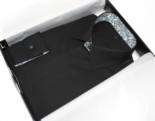 belles chemises sur mesure, chemise fashion, chemise noire chemise Liberty chemise col italien chemise poignets mixte, chemise gogre cachée, chemise made in france, chemise homme, achat chemise
