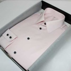 chemise rose, chemise en coton, chemise simple retors, Chemise made in France, chemise pointes arrondies, chemise bas droit, chemise en coton, poignet double boutonnage