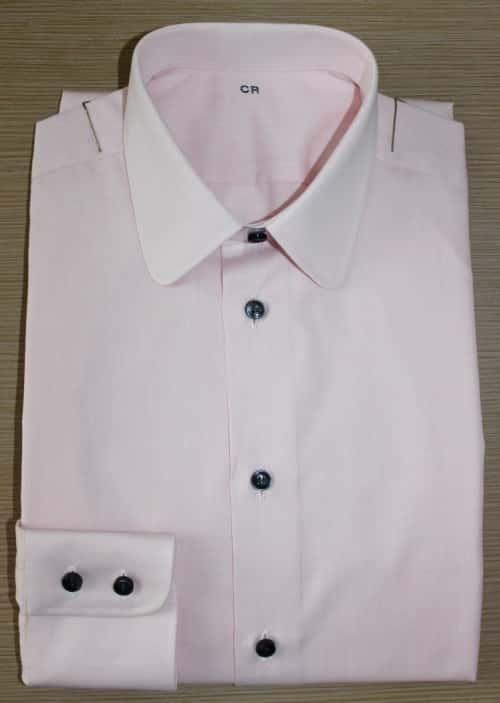 chemise rose, chemise en coton, chemise simple retors, Chemise made in France, chemise pointes arrondies, chemise bas droit, chemise en coton, poignet double boutonnage