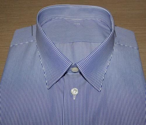 Chemise homme, chemise rayée homme, chemise à rayures, chemise ajustée, chemise bas liquette, chemise bleue, chemise blanche, chemise en coton, chemise col classique, chemise poignets simples, chemise sans gorge