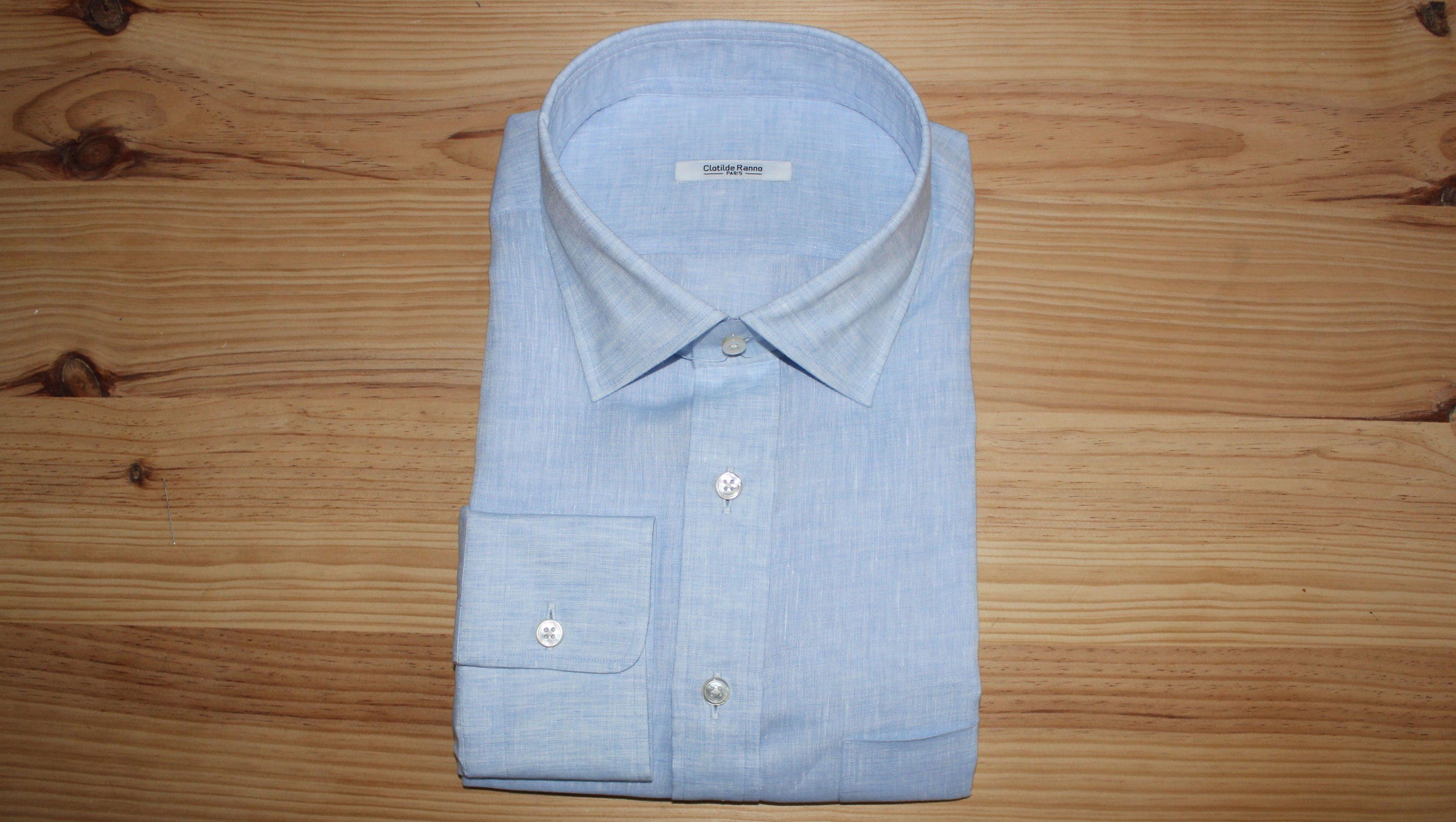 chemise bleue coton égyptien sur mesure , chemise bleue coton égyptien