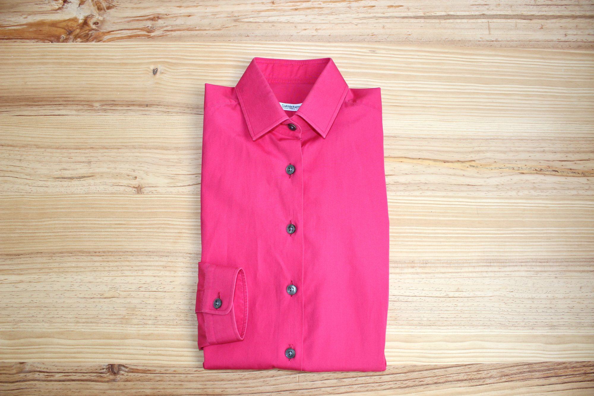 chemise rose popeline , chemise rose sur mesure , chemise rose popeline sur mesure
