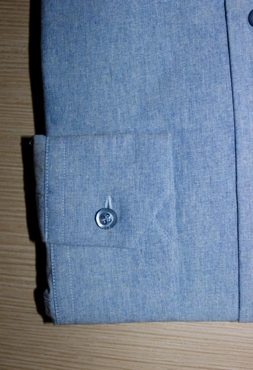 Chemise sur mesure business, chemise bas liquette, chemise bleue, chemise business, chemise col italien ouvert, chemise coton, chemise homme, chemise poignet simples, chemise sans gorge, chemise simple retors