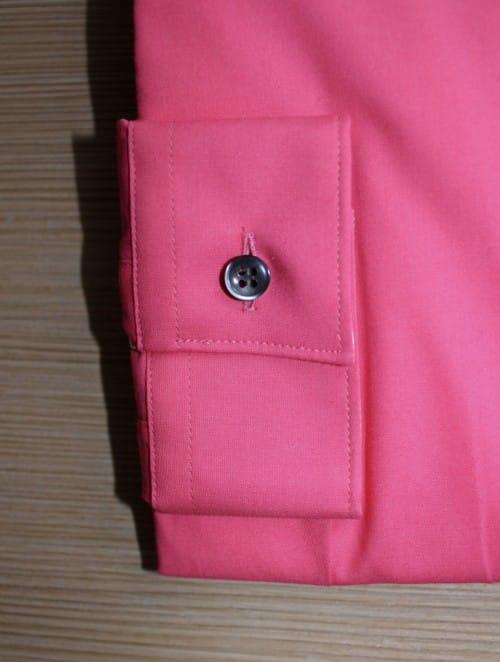 Chemise rose stretch, chemise col et poignet en opposition, chemise femme, Chemise mini-col, chemise rose, chemise simple retors, chemise stretch, chemise bas liquette, chemise gorge surpiquée