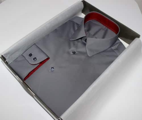 boutique chemise sur mesure, chemise homme, chemise luxe, chemise grise, chemise opposition col et poignets, chemise bas liquette, chemise non iron, chemise en coton,chemise poignets double boutonnage, chemise col pointes arrondies