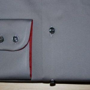chemise homme, chemise luxe, chemise grise, chemise opposition col et poignets, chemise bas liquette, chemise non iron, chemise en coton,chemise poignets double boutonnage, chemise col pointes arrondies