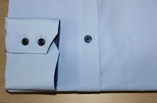 Chemise bleue, chemise 100% coton, chemise bas liquette, chemise bleue, chemise business, chemise col et poignet en opposition, Chemise easy iron, chemise poignet double boutonnage, chemise col classique