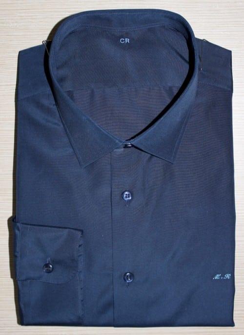Chemise bleue coton égyptien, chemise bleue, Chemise col italien, chemise coton égyptien, chemise homme, Chemise luxe, chemise poignets simples, chemise sans gorge, chemise unie