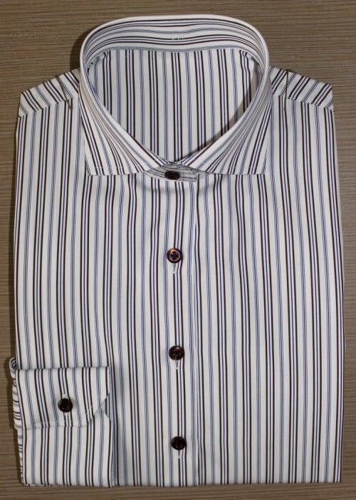 Chemise sur mesure femme, chemise femme, chemise à rayures, chemise en coton, chemise col italien ouvert, chemise coupe droite, chemise sans gorge, chemise bas liquette, chemise manches longues