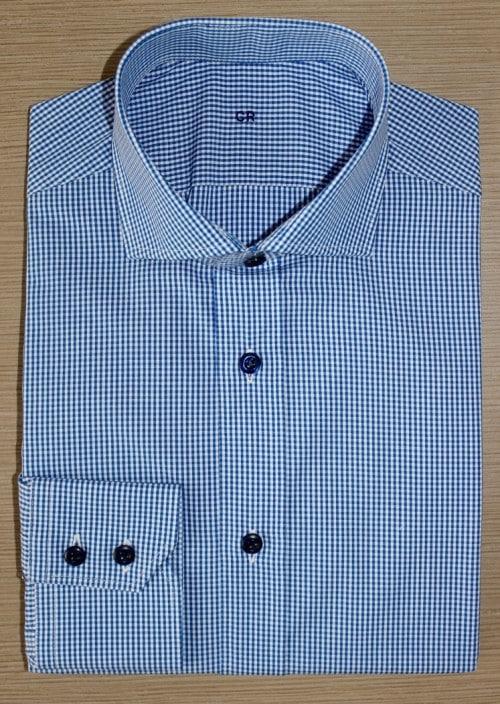 chemise sur mesure à carreaux, Chemise homme, Chemise à carreaux, Chemise bleue, Chemise bas liquette, Chemise col italien, chemise poignet double boutonnage, chemise en coton, chemise simple retor, chemise avec baleines