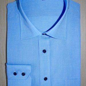 Chemise homme bleue, chemise bleue, chemise homme, Chemise luxe, Chemise col italien, chemise poignets double boutonnage, chemise bas droit, chemise unie, chemise polyeste