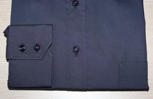 chemise homme noire, chemise business, Chemise col italien, chemise noire, chemise poignet double boutonnage, chemise polyester, chemise à poche, chemise coupe droite