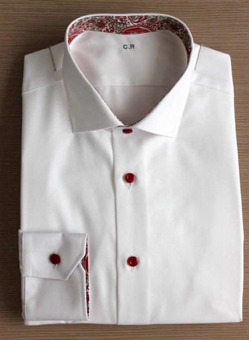 chemise italienne , chemise homme, chemise luxe, chemise coton, chemise double retors, chemise blanche, chemise Liberty, chemise poignets simples, chemise col italien ouvert