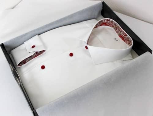 belles chemises sur mesure, chemise italienne , chemise homme, chemise luxe, chemise coton, chemise double retors, chemise blanche, chemise Liberty, chemise poignets simples, chemise col italien ouvert