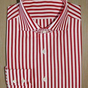 chemise rayée coton égyptien , chemise luxe, chemise homme, chemise thomas mason, chemise à rayures, chemise rouge, chemise blanche, chemise double retors, chemise col aldo