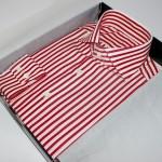 thomas mason, chemise rayée coton égyptien , chemise luxe, chemise homme, chemise thomas mason, chemise à rayures, chemise rouge, chemise blanche, chemise double retors, chemise col aldo