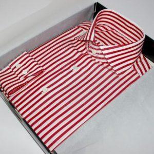 prix chemise sur mesure, thomas mason, chemise rayée coton égyptien , chemise luxe, chemise homme, chemise thomas mason, chemise à rayures, chemise rouge, chemise blanche, chemise double retors, chemise col aldo