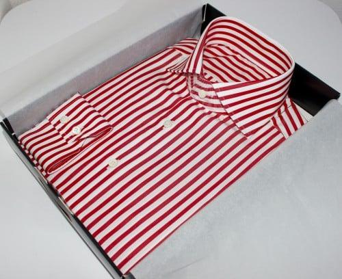 belles chemises sur mesure, prix chemise sur mesure, thomas mason, chemise rayée coton égyptien , chemise luxe, chemise homme, chemise thomas mason, chemise à rayures, chemise rouge, chemise blanche, chemise double retors, chemise col aldo