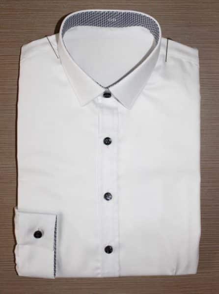 chemise sur mesure tendance, chemise bas liquette, chemise blanche, chemise col et poignet en opposition, Chemise mini-col, chemise petit poignet, chemise polyester