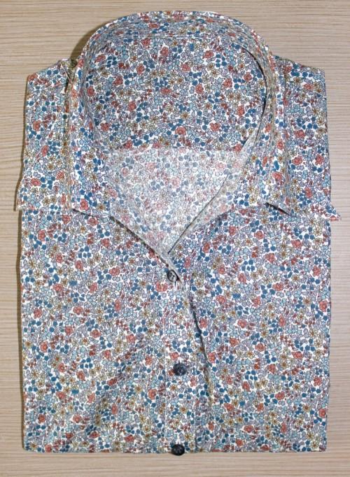 chemisier popeline ,chemisier femme, chemise femme, chemise liberty, chemise coton, chemise col lady, chemise manches courtes, chemise bas liquette, chemise gorge surpiquée