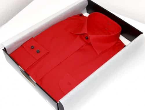chemise sur mesure rouge, Chemise col italien, chemise femme, chemise poignets double boutonnage, chemise rouge, robe-chemise, chemise bas droit, chemise simple retors