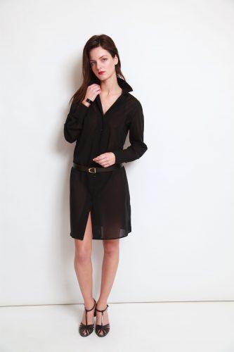 robe chemise, robe noire, robe noire sur mesure, robe sur mesure, atelier clotilde ranno, clotilde ranno