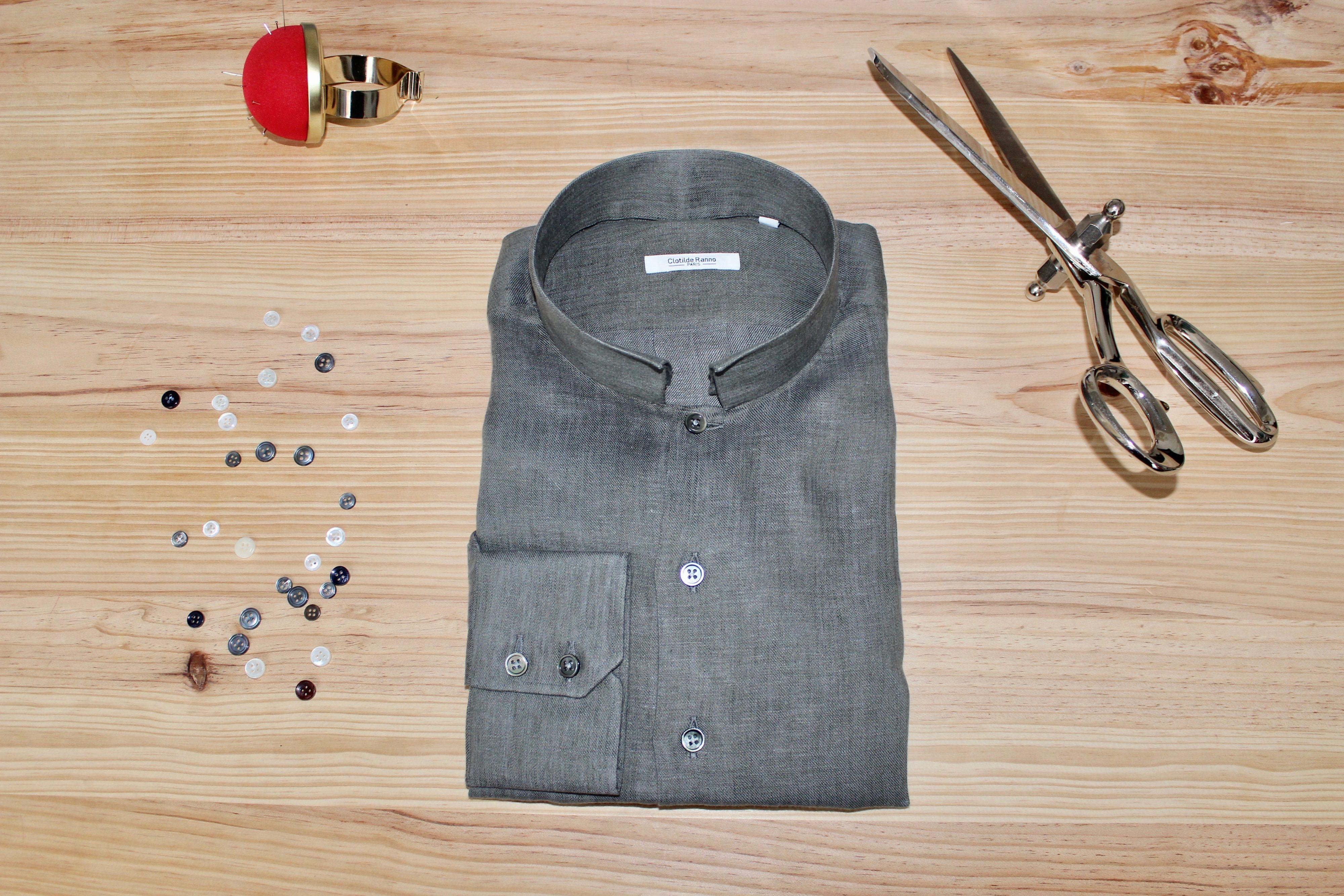 chemise en lin sur mesure , chemise en lin sur mesure