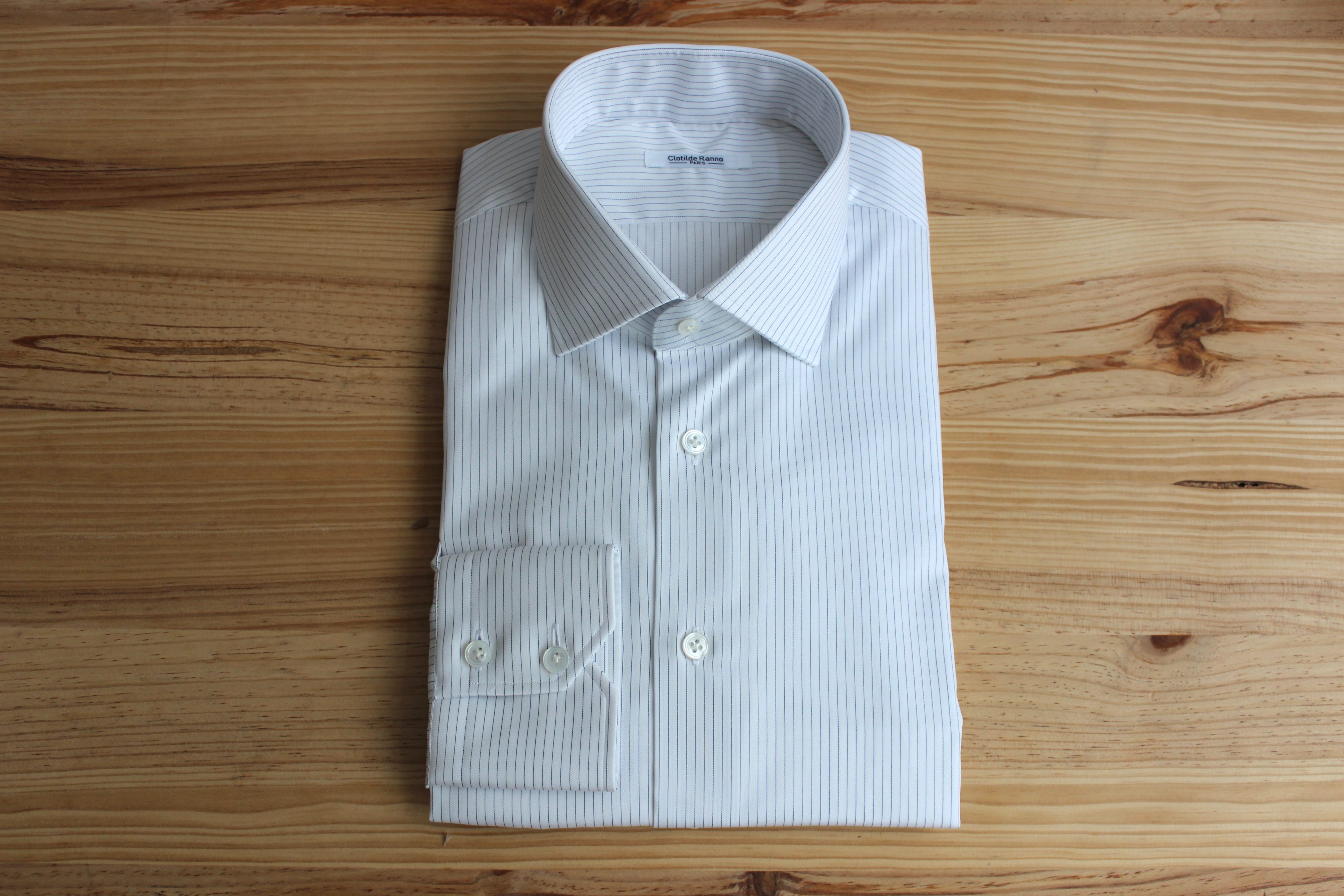 chemise rayée bleue sur mesure , chemise rayée sur mesure , chemise rayée bleue