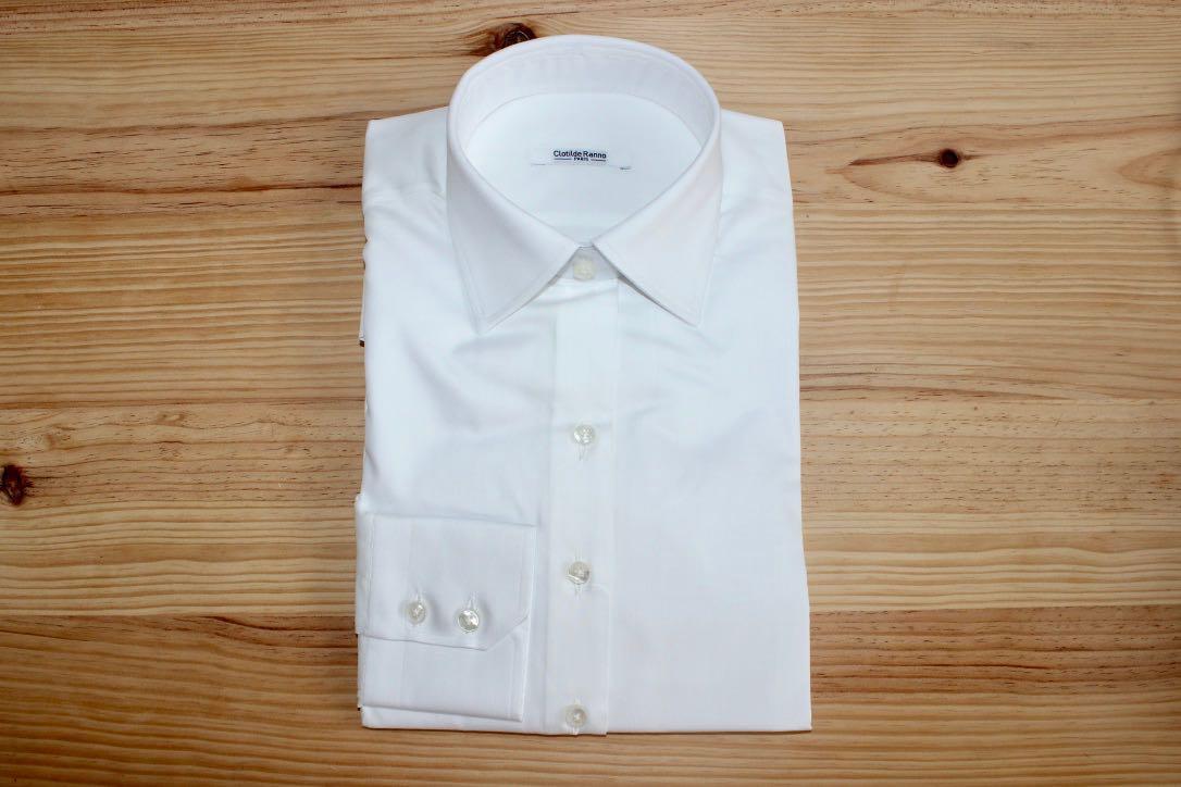 chemise sur mesure col classique blanc , chemise col classique blanc
