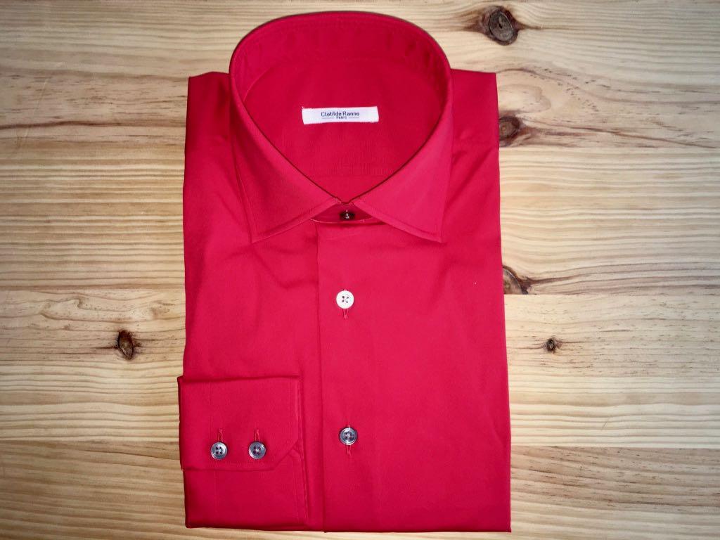 chemise sur mesure rouge , chemise rouge