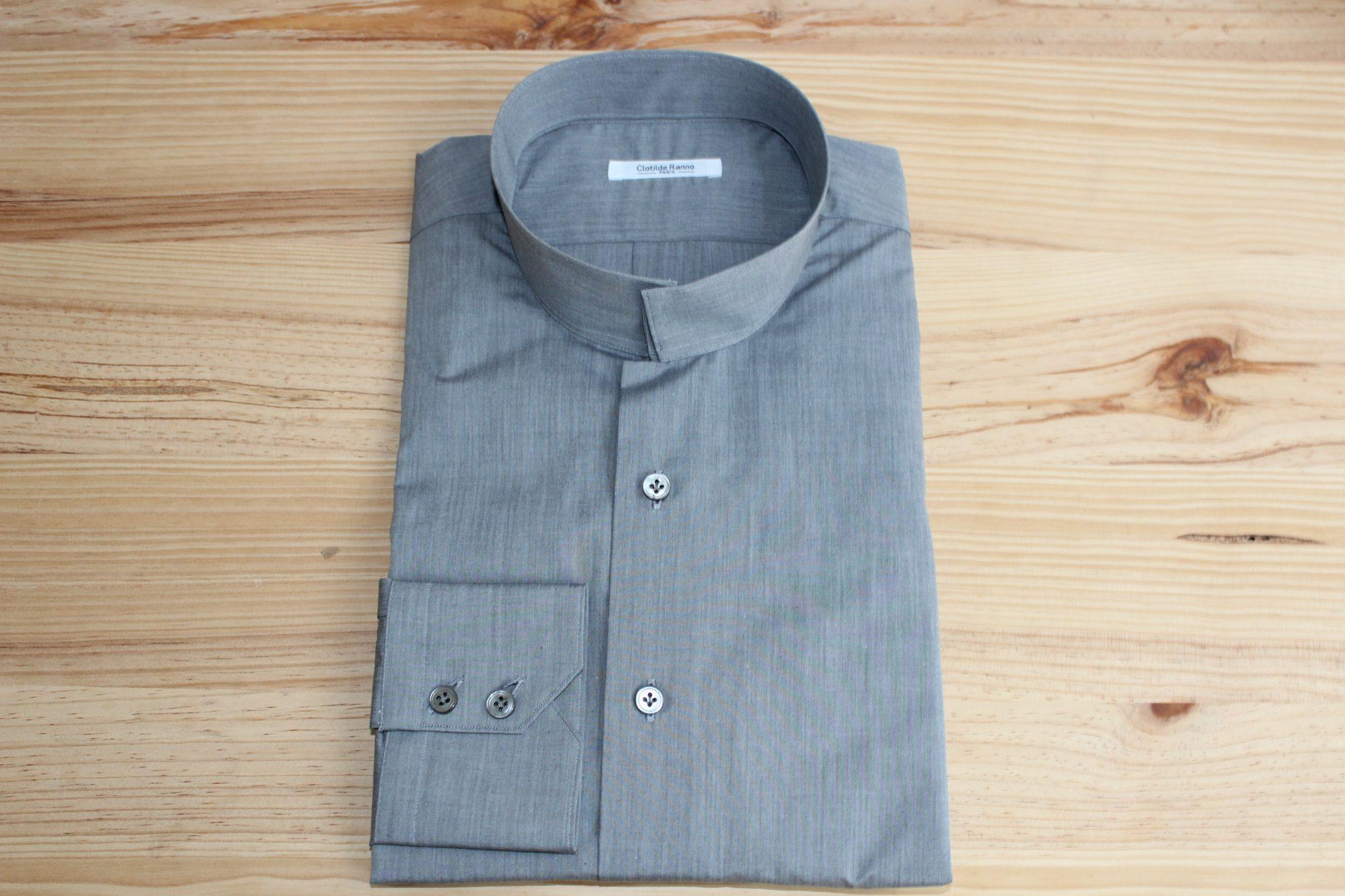robe chemise sur mesure grise , robe chemise grise , robe chemise sur mesure