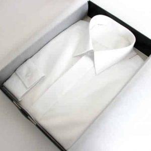 chemise blanche, chemise homme, Chemise luxe, chemise bas liquette, chemise col classique, chemise poignets mixtes, chemise gorge cachée