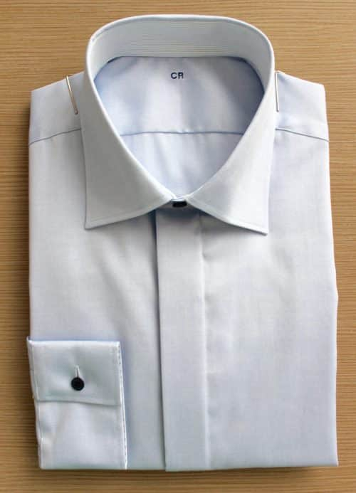 chemise bleue non iron , chemise bleue, chemise homme, chemise luxe, chemise col italien, Chemise poignets mixtes, chemise gorge cachée, chemise bas liquette, chemise col & poignets fantaisie