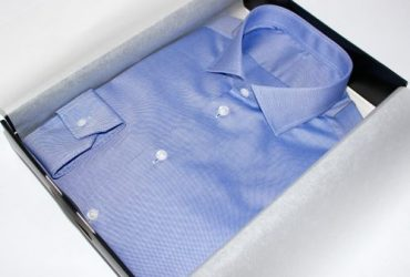Chemise bleue tissu égyptien sur mesure Washington