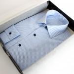 chemise business rayée ,chemise business, chemise homme, chemise rayée, prix chemise sur mesure, chemise col italien, chemise bas liquette, chemise simple retors, chemise coton, Chemise poignets mixtes, chemise sans gorge