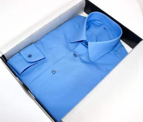 chemise cintrée homme , chemise bas liquette, chemise bleue, chemise cintrée, chemise homme, Chemise luxe, chemise petit col classique, Chemise poignets mixtes, chemise sans gorge, chemise coton, chemise simple retors