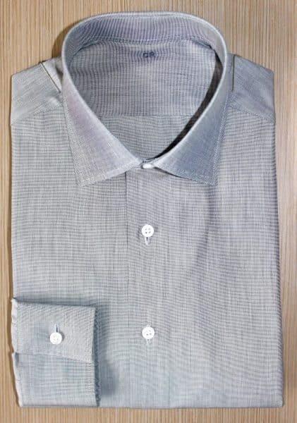 chemise grise coton égyptien , chemise grise, chemise homme, chemise luxe, chemise col italien, Chemise poignets mixtes, chemise coton égyptien, chemise bas liquette, chemise gorge surpiquée, chemise thomas mason