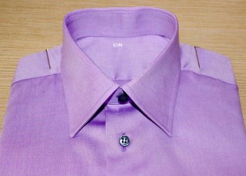 chemise homme violette , chemise bas droit , chemise col classique , chemise en coton , chemise homme , chemise poignet double boutonnage , chemise violette