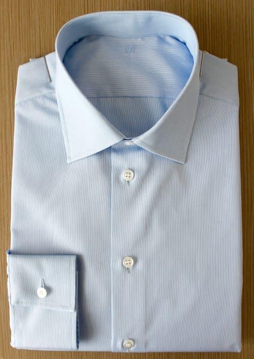 chemise luxe coton égyptien, chemise homme, chemise bleue, chemise luxe, chemise coton égyptien, chemise double retors, chemise col italien, chemise poignets mixtes, chemise bas liquette, chemise sans gorge