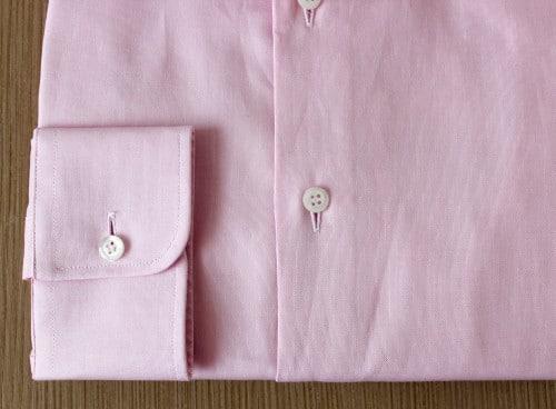 chemise business, chemise homme, chemise oxford, chemise rose, chemise col italien, chemise coton, chemise simple retors, Chemise poignets mixtes, chemise bas liquette, chemise ajustée