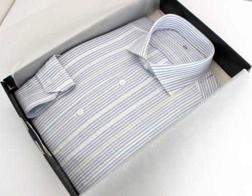 belles chemises sur mesure, chemise homme, chemise col italien ouvert, chemise coton, chemise rayée, chemise sans gorge, Chemise poignets mixtes, chemise bas liquette