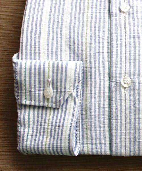 chemise homme, chemise col italien ouvert, chemise coton, chemise rayée, chemise sans gorge, Chemise poignets mixtes, chemise bas liquette
