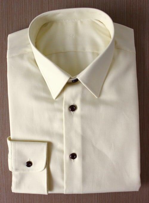 chemise sur mesure beige non iron ,chemise homme, chemise business, chemise beige, chemise coton, chemise col classique, chemise poignets simples, chemise sans gorge, chemise bas liquette, chemise simple retors