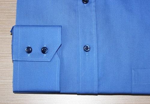 chemise sur mesure bleue , chemise bleue , chemise business , chemise homme , chemise col italien , chemise poignet double boutonnage , chemise polyester , chemise coton , chemise bas droit , chemise gorge surpiquée