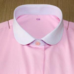 chemise sur mesure rose, chemise rose, chemise femme , chemise poignets simples, chemise sans gorge, chemise bas liquette, chemise coton, chemise simple retors, Chemise made in France