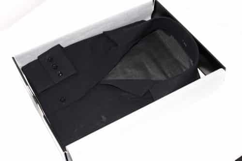 chemise noire, chemise voile suisse, robe-chemise, chemise col plat, chemise poignets à 3 boutons, chemise bas droit, chemise sans gorge, chemise thomas mason